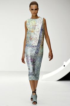 MARY KATRANTZOU - The print protegé moved forward this season and included metallics and foil prints in her complex designs.