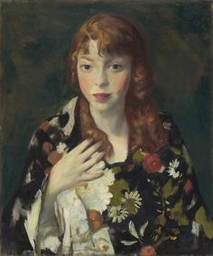 ☂ Paper Lanterns and Parasols ☂ Japonisme Art and Illustration - Robert Henri | Edna Smith in a Japanese Wrap, c. 1915