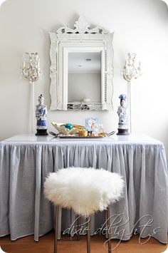 Need to make a table skirt like this for the desk in room!  Dressing Table in Closet {Before & After}