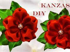 DIY Kanzashi flores copos destellantes de rubí - Kanzashi flowers glittery ruby