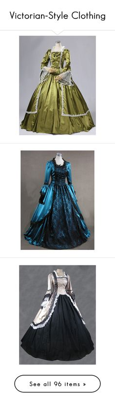 """Victorian-Style Clothing"" by emma-frost-98 ❤ liked on Polyvore featuring costumes, ball costume, disco party costumes, victorian lady costume, womens disco costumes, marie antoinette costume, dresses, gowns, long dresses and victorian"