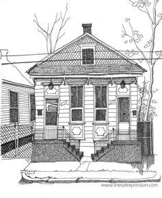 Rebecca Payne -ink sketchbook drawing of an old house in New Orleans on LaHarpe Street.   #inkdrawing #inkdrawings #penandinkdrawing #worksonpaper #sketchbookdrawing #illustrationart #dibujo #linesofexpression #artistonig #handdrawn