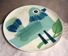 1970s Fitz and Floyd Papier Mache Platter with Bird.