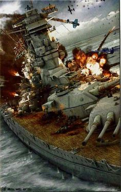 W.W 2 japnnese battle ship under attack from American fighter planes.