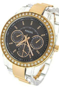Fossil Women's ES2806 Stella Two Tone Bracelet Brown Dial Watch