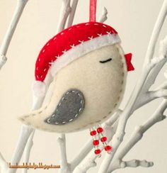 Handmade Felt Birds with Santa Hats - SO pretty for Christmas ornaments and decor! Not a tutorial, but very inspiring. Handmade Felt Birds with Santa Hats - SO pretty for Christmas ornaments and decor! Not a tutorial, but very inspiring. Felt Christmas Decorations, Felt Christmas Ornaments, Noel Christmas, Handmade Ornaments, Handmade Felt, Bird Ornaments, Tree Decorations, Felt Ornaments Patterns, Ornaments Ideas
