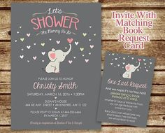 Elephant Baby Shower Invitation - Baby Elephant - Mommy to Be Shower Invitation - Elephant Invite - Elephant Girl or Boy Baby Shower Baby Shower Items, Baby Shower Invites For Girl, Baby Boy Shower, Baby Shower Sheet Cakes, Baby Elefant, Baby Shower Invitaciones, Spring Shower, Elephant Baby Showers, Wishes For Baby
