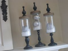 another idea with snow in jars http://www.shanty-2-chic.com/2009/10/ashleys-fall-apothecary.html