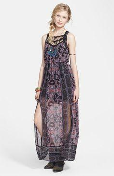 Free People Print Chiffon Maxi Dress