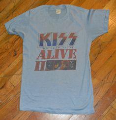 c28f98a78da RaRe  1977-78 KISS  vintage rock metal concert tour t-shirt (M) 70s Gene  Simmons
