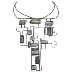 Mid Century Ancient Roman Glass Modernist Bib Necklace | From a unique collection of vintage choker necklaces at http://www.1stdibs.com/jewelry/necklaces/choker-necklaces/