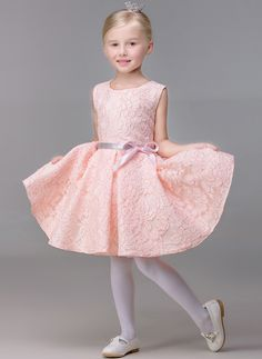 A-Line/Princess Short/Mini Flower Girl Dress - Lace Sleeveless Jewel With Bow(s) #Flowergirldress