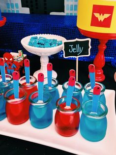 Red and blue jello at a Superhero Party! See more party ideas at CatchMyParty.com! #partyideas #superhero