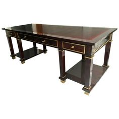 Jacques Adnet Exceptional Neoclassic Large President Desk with Leather Top | 1stdibs.com