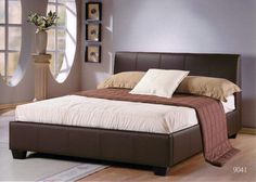 Brown leather bed (similar to what we have)