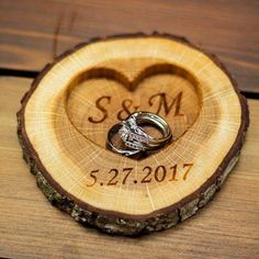 Personalized Rustic Wood Ring Holder Rustic Wedding Ring