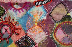 larkhappy :: wool embroidered over knit - art effect.