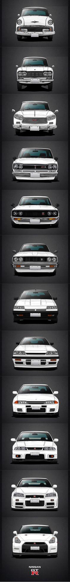 Nissan Skyline - GT-R evolution / ALS-1/2 - BLRA-3 - S50 - KPGC-10 - KPGC-110 - C210 - R30 - R31 - R32 - R33 - R34 - R35 / Prince / white / Japan / Mauricio Massami