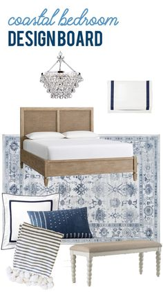 This gorgeous blue and white coastal bedroom design board offers the perfect plan and foundation to create a dream bedroom! #bedroomdesign