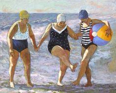 Beth Carver: Coastal Water Dance - Big Ladies on the Beach Artwork Plus Size Art, Beach Artwork, Painting People, Beach Scenes, Illustration Art, Artsy, Dance, Lady, Drawings