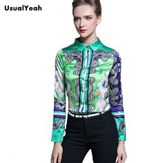 Long Sleeve Blouse Office Lady Shirt Fashion Print Work