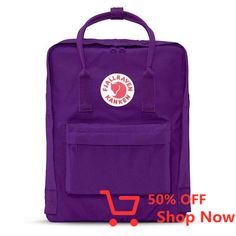 """Fjallraven Kanken Classic Backpack With the Swedish mantra in mind, """"Straight backs are happy backs,"""" Fjällräven created the first Kånken in 1978 to spare the backs of school children, as back probl. School Backpacks, Kanken Backpack, Boards, Unisex, Activities, Purple, Classic, Stuff To Buy, Animals"""