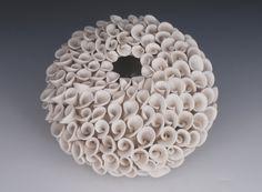 Textured White Ceramic Vase - Sculptural Design by Whiteearthstudio