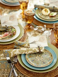 Pattern play with plates and linens. #potterybarn