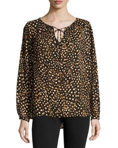 MICHAEL Michael Kors Long-Sleeve Cutout Tie Blouse, Black/Light Camel New offer @@@ Price :$130 Price Sale $85