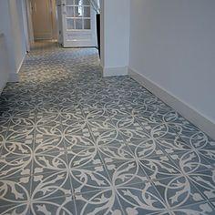 Fell in love with this floor. Handmade Portuguese tiles from Castelo. Floor Design, Tile Design, House Design, Floor Patterns, Tile Patterns, Encaustic Tile, House Tiles, Tiles Uk, Portuguese Tiles
