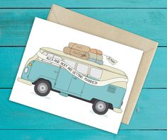 Retro VW camper van wedding invitation, ready to be customised by you! Find it on Etsy: https://www.etsy.com/uk/listing/222431177/camper-van-wedding-invite-or-save-the?ref=sr_gallery_2&ga_search_query=camper+van+wedding+invite&ga_order=most_relevant&ga_view_type=gallery&ga_ship_to=GB&ga_search_type=all You can just change the colours or go wild and add surf boards, a dog, anything!