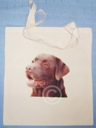 CHOCOLATE LABRADOR - NATURAL COTTON DOG SHOULDER BAG