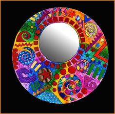 Items similar to Jazzy Mirror on Etsy - Items similar to Jazzy Mirror on Etsy papier mache mirror I am sure you can mosaic this patern Paper Mache Clay, Paper Clay, Mirror Painting, Mirror Art, Mosaic Crafts, Mosaic Projects, Origami, Mirror Mosaic, Mosaic Art