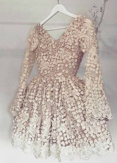 Champagne homecoming dresses, chic long sleeves party gowns, floral fall homecoming party gowns.