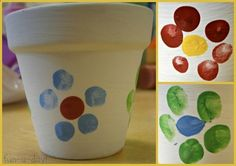 fingerprint flowerpot for Mothers Day, Happy Mothers Day, fingerprint flowers made by child, Mothers Day gifts from kids