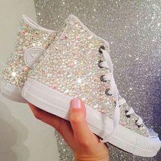 15 trendy Ideas for wedding shoes converse sneakers Converse Wedding Shoes, Prom Shoes, Sparkly Converse, White Converse, Bedazzled Converse Diy, Bedazzled Shoes, White Vans, Quinceanera Dresses, Quinceanera Ideas