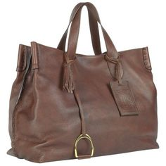 Ralph Lauren Collection Vintage Brown Soft Leather Saddle Tote ($1,500) ❤ liked on Polyvore
