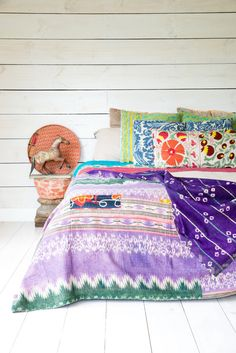 Vintage Kantha quilt  Royal Purple by AnotherWorldTrading on Etsy