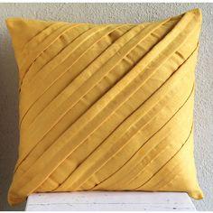 Contemporary Mustard Yellow - Throw Pillow Covers - 16x16 Inches Suede Pillow Cover in Mustard Yellow
