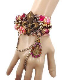 FleurDeLis Cuff Bracelet   Vintage Assemblage by InVintageHeaven, $65.00
