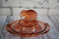 Pink Elephant Depression Glass Ashtray Ash by CountryGirlsVintage