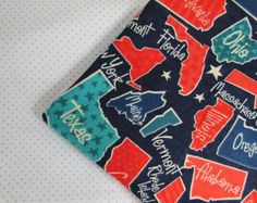 Baby Blanket Handmade State Print Flannel Personalized Blanket Baby Shower Gift Stroller Blanket