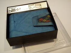 Vintage Amity Cowhide Wallet: Still in the Box, Never Used, Tie Dye Blue Laether with Stained Glass Detail