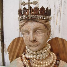 Distressed French Santos doll bust statue handmade crown hand cut metal wings shabby cottage distressed home decor anita spero