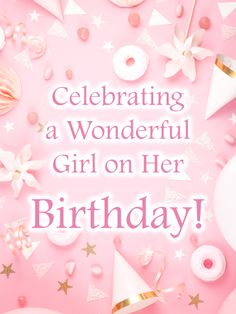 This all-pink birthday greeting will send your best wishes to a special little girl in your life. Party hats, balloons, and plenty of fun and sweet extras set the tone for a totally amazing celebration. And the message, reminding her how wonderful she is, today and always, is one that will stay with her all though the year. Whatever age she's turning, this stylish card, with its charming design, is the perfect surprise to send, whether you're there with her or far away. Birthday Greetings For Sister, Girl Birthday Cards, Little Girl Birthday, Pink Birthday, Sister Birthday, Birthday Greeting Cards, Birthday Balloons, Birthday Reminder, Birthday Calendar