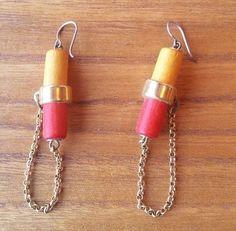 Aarikka Finland  Earrings Vintage Red Yellow Wood Gold Toned Metal  Dangle #Aarikka #Beaded Gold Wood, Vintage Earrings, Finland, Dangle Earrings, Dangles, Yellow, Metal, Red, Jewelry