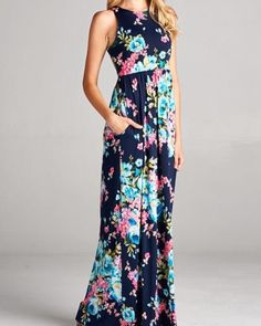 Navy racer back maxi dress with pink floral print. - Poly/spandex blend - Side pockets Size Chart S M L XL Number Size 2-4 4-6 6-8 10-12 Bust 32-34 34-36 36-38 40 Waist 24-26 26-28 28-30 32 Hips 33-35