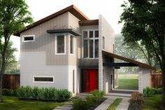 Contemporary Style House Plan - 2 Beds 2.50 Baths 1227 Sq/Ft Plan #80-218 Exterior - Front Elevation - Houseplans.com  #dwell #design #dwelling #modern #modernhome #dreamhome #floorplan #residence #architect #architecture #build #home #house