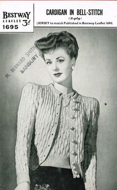 Bestway 1695 3ply cardigan ladies vintage knitting pattern Listing in the Ladies DK,Patterns,Knitting & Crochet,Crafts, Handmade & Sewing Category on eBid United Kingdom