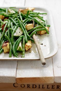 Indian side dish - beans and paneer with lime and black pepper